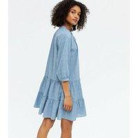 Blue Tie Neck Smock Mini Dress New Look