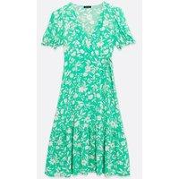 Green Floral Puff Sleeve Wrap Midi Dress New Look