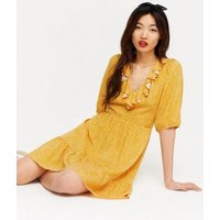 Mustard Spot V Neck Ruffle Mini Dress New Look