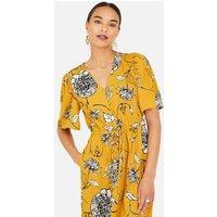 Yumi Mustard Floral Midi Dress New Look