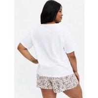 Curves White Stay Sassy Logo Sketch Face Short Pyjama Set New Look