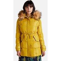 Yumi Yellow Faux Fur Hooded Puffer Coat New Look