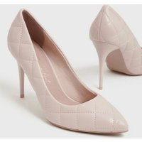 Cream Quilted Stiletto Court Shoes New Look Vegan