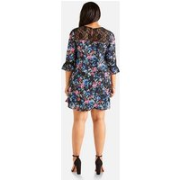 Yumi Curves Black Floral Lace Neck Tunic Dress New Look