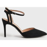 Black Suedette Pointed Court Shoes New Look Vegan