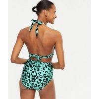 Blue Leopard Print Push Up Triangle Bikini Top New Look