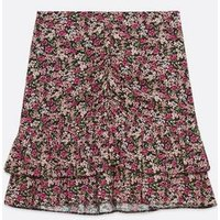 Pink Floral Ruched Tiered Hem Skirt New Look