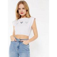 Pink Vanilla White Glitter Heart Crop Top New Look