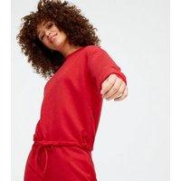 Red Tie Waist Sweatshirt and Joggers Set New Look
