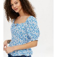 Petite Blue Floral Square Neck Puff Sleeve Peplum Top New Look