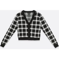 Black Check Long Sleeve Cardigan New Look