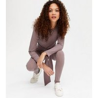 Petite Rust Tie Front Ribbed Top and Trouser Set New Look