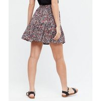 Petite Black Floral Tiered Mini Skirt New Look