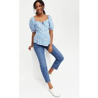 Maternity Pale Blue Floral Tie Front Peplum Top New Look