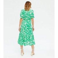 Petite Green Floral Puff Sleeve Wrap Midi Dress New Look