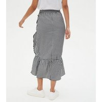 Tall Black Gingham Ruffle Wrap Midi Skirt New Look
