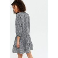 Tall Black Check Tie Neck Tiered Smock Dress New Look