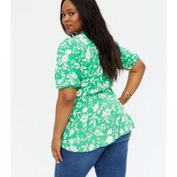 Curves Green Floral Peplum Blouse New Look