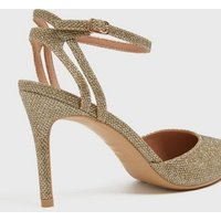 Gold Glitter Strappy Stiletto Court Shoes New Look Vegan