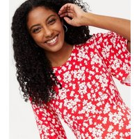Maternity Red Floral Flutter Sleeve Midi Dress New Look