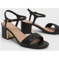 Wide Fit Black Quilted Strap Mid Heel Sandals New Look Vegan