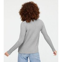 Blue Vanilla Pale Grey Ribbed Vest and Cardigan Set New Look