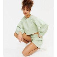 Honey Behave Green Crop Sweatshirt and Shorts Set New Look
