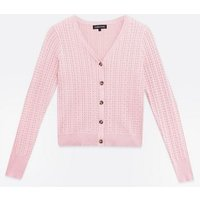 Cameo Rose Pink Cable Knit Cardigan New Look