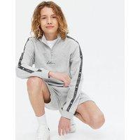 Boys Grey Marl LDN Embroidered Zip Sweatshirt New Look
