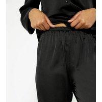 Cameo Rose Black Satin Feather Pyjama Bottoms New Look