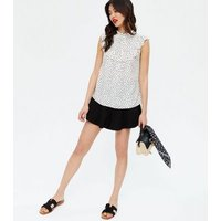 White Spot Frill Trim Sleeveless Blouse New Look