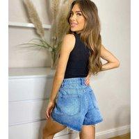 Urban Bliss Bright Blue Denim Raw Hem Mom Shorts New Look