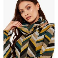 Apricot Green Chevron Snood Tunic Top New Look