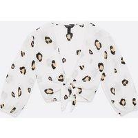 White Leopard Print Tie Front Crop Beach Top New Look