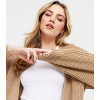 Camel Knit Puff Sleeve Long Cardigan New Look