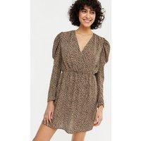 Urban Bliss Rust Leopard Print Ruched Wrap Dress New Look