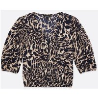 Brown Leopard Print Button Top New Look