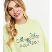 Maternity Light Green Good Things Logo Sweatshirt New Look