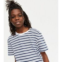 Boys 2 Pack Navy Stripe and White T-Shirts New Look