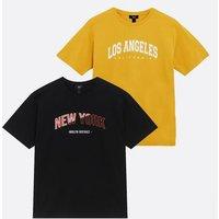 Boys 2 Pack Mustard and Black Varsity Logo T-Shirts New Look