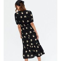 Black Daisy Tiered Wrap Midi Dress New Look