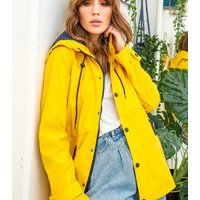 Urban Bliss Yellow Hooded Mac New Look