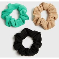 3 Pack Green Camel and Black Ribbed Scrunchies New Look