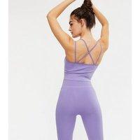 PIECES Light Purple Sports Crop Top New Look