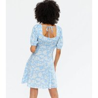 Blue Ditsy Floral Ruched Bustier Tie Back Mini Dress New Look