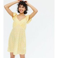 Yellow Ditsy Floral Frill Sleeve Bustier Mini Dress New Look