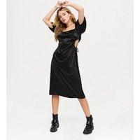 NA-KD Black Satin Square Neck Midi Dress New Look