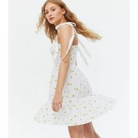 White Floral Shirred Tie Strap Tiered Sundress New Look