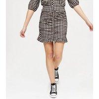 Black Gingham Ruched Mini Skirt New Look