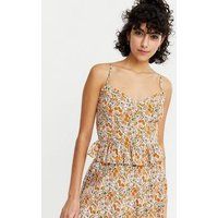 White Ditsy Floral Peplum Cami New Look